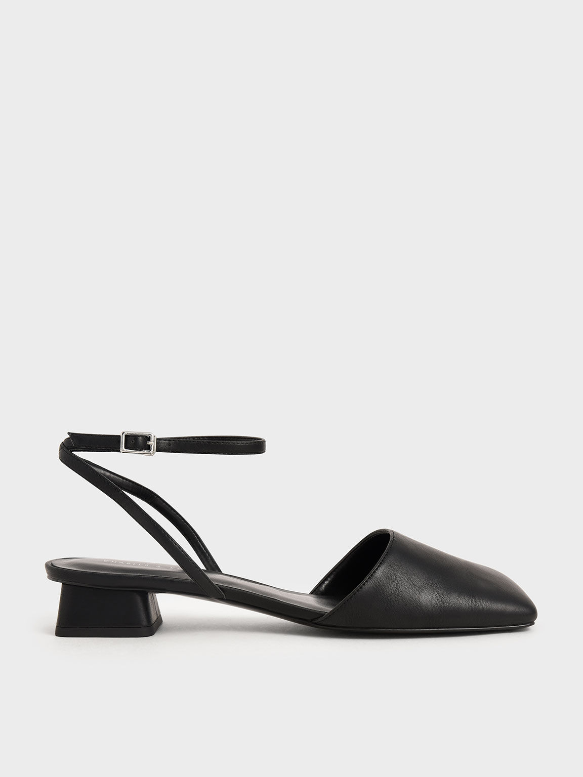 Square Toe Ankle Strap Pumps, Black, hi-res