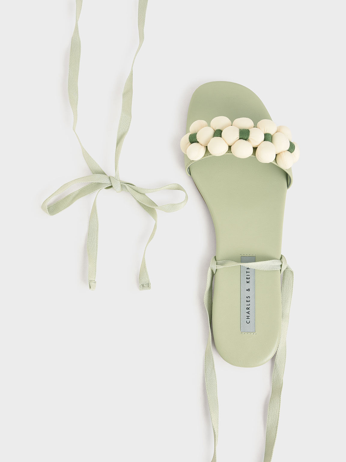 Pom Pom Tie-Around Sandals, Sage Green, hi-res