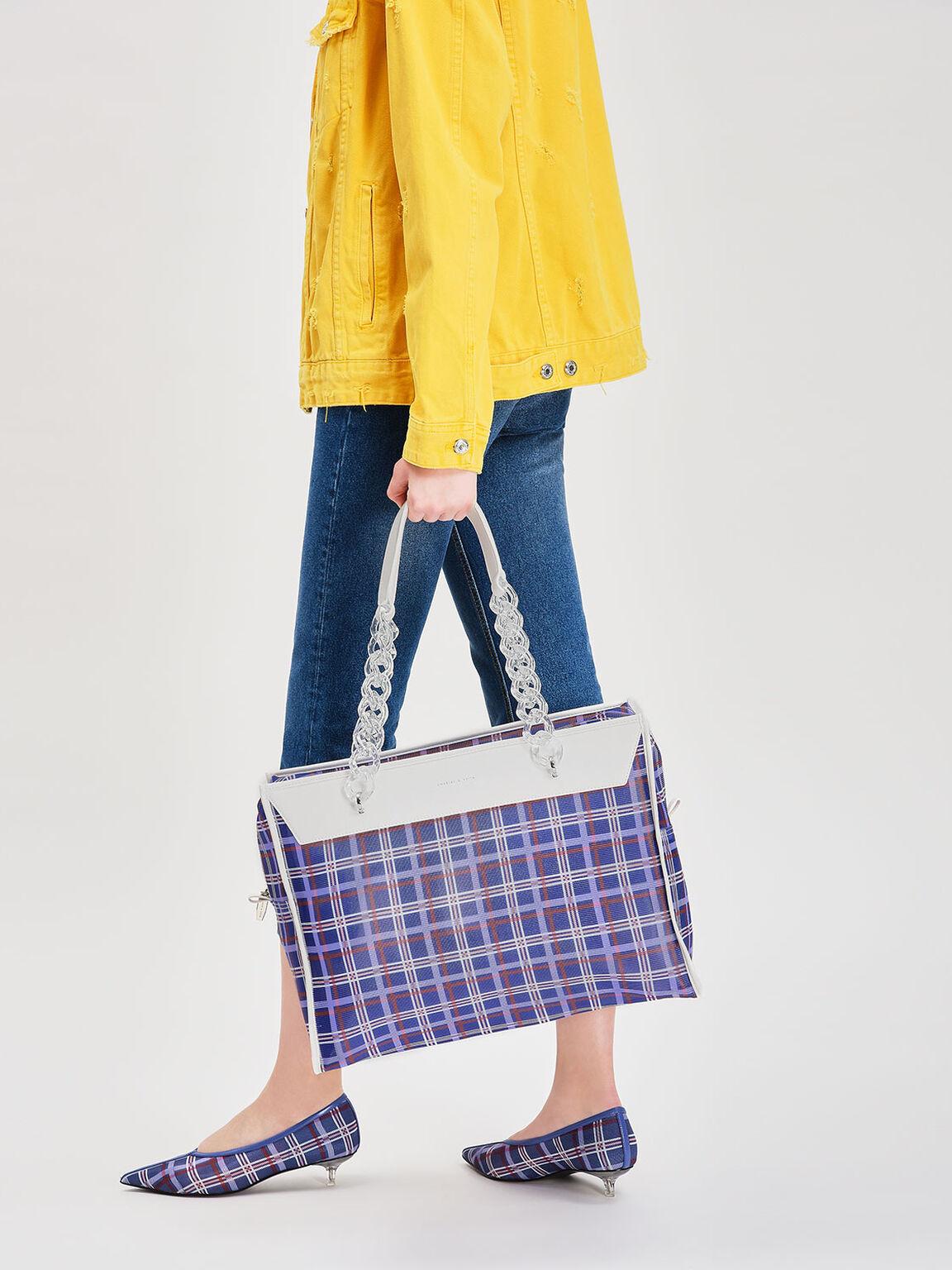 Printed Mesh Tote Bag, Blue, hi-res