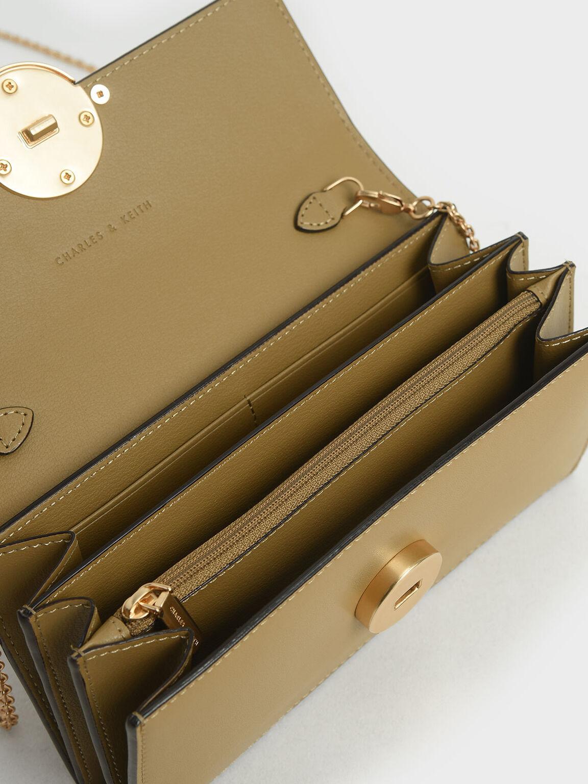 Two-Tone Metallic Push-Lock Wallet, Multi, hi-res