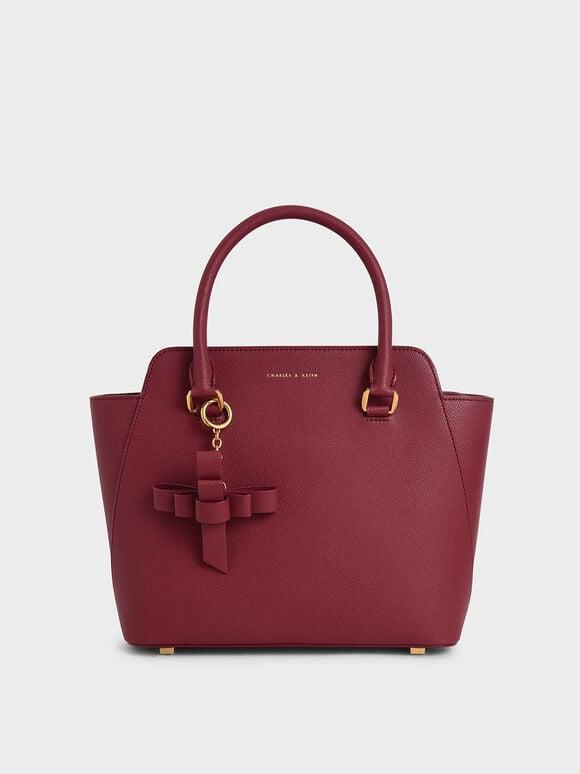 經典吊飾手提包, 莓果紅, hi-res