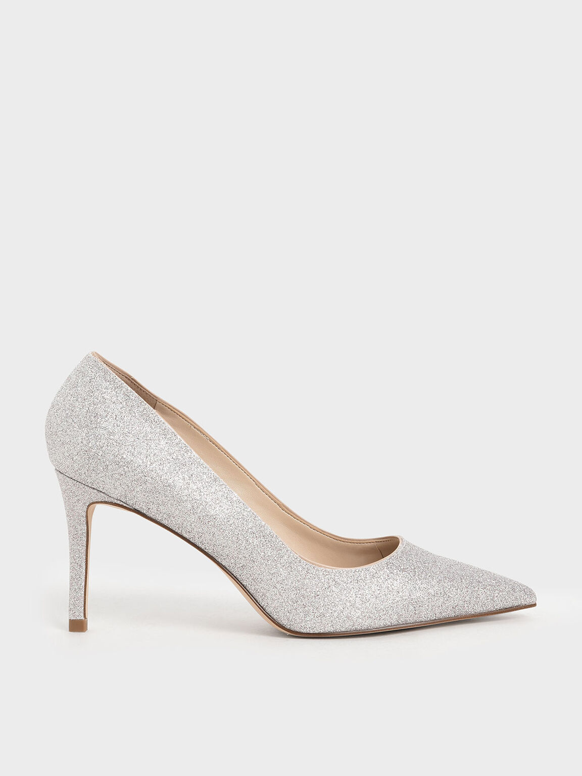 Glitter Stiletto Heel Pumps, Silver, hi-res
