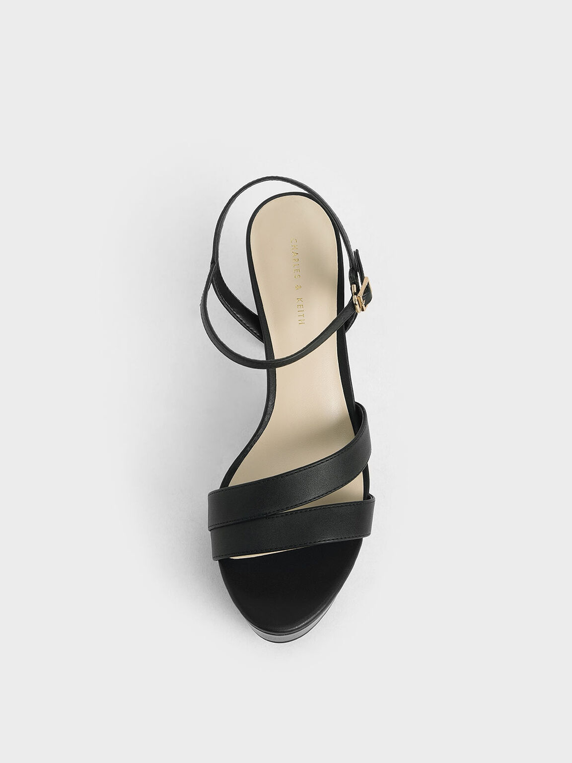 Strappy Platform Sandals, Black, hi-res