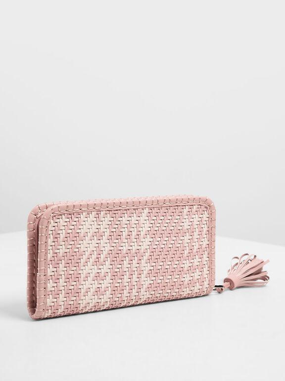 Woven Tassel Zip Around Wallet, Light Pink, hi-res