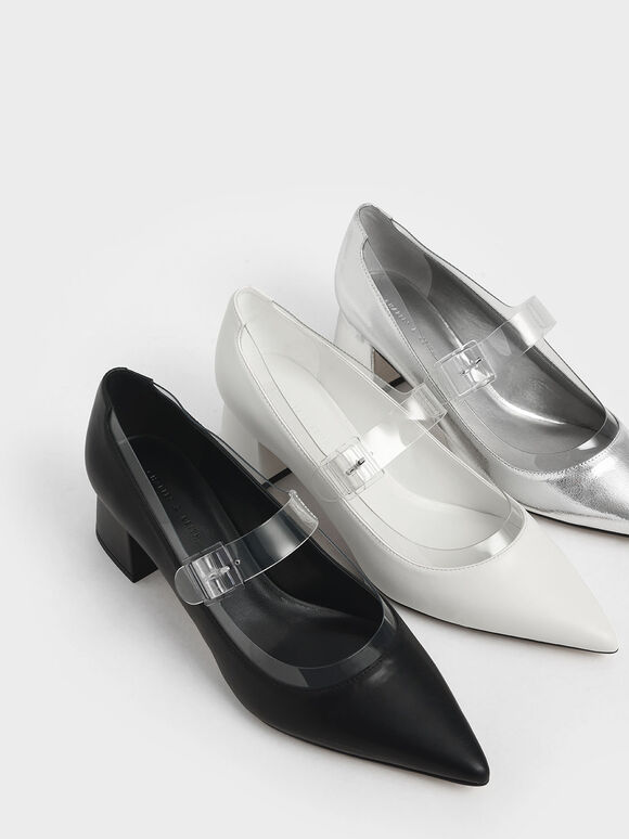 Clear Mary Jane Strap Pumps, Black, hi-res