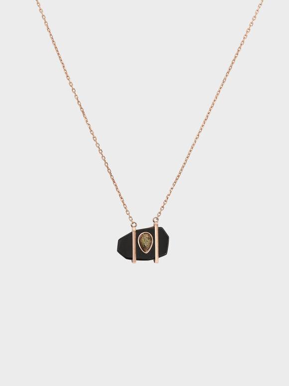 Onyx & Pyrite Gemstone Teardrop Choker Necklace, Black, hi-res
