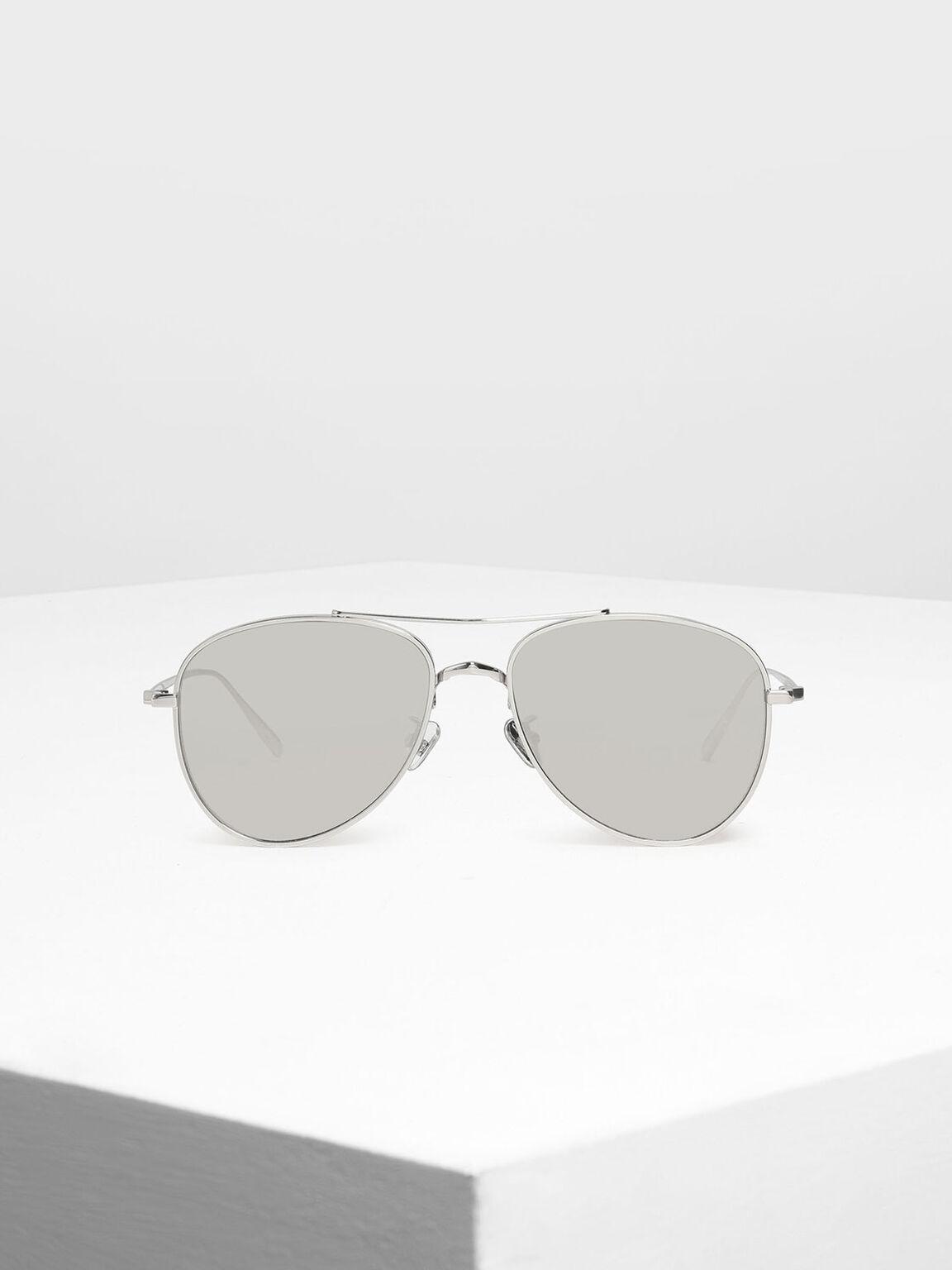 Metal Aviator Sunglasses, Silver, hi-res