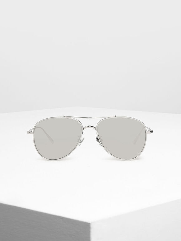 Metal Aviator Sunglasses, Silver, hi-res