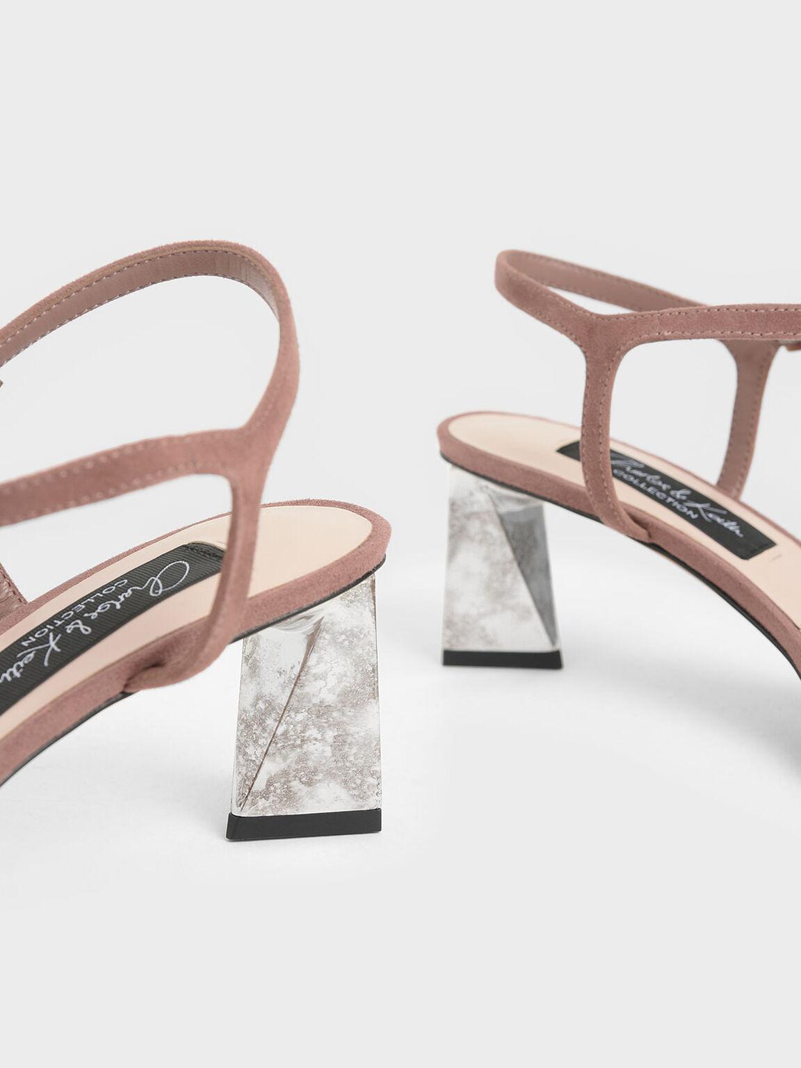 Chrome Heel Sandals (Kid Suede), Brick, hi-res