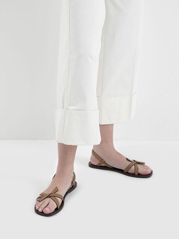 Front Knot Tie Slingback Sandals, Camel, hi-res