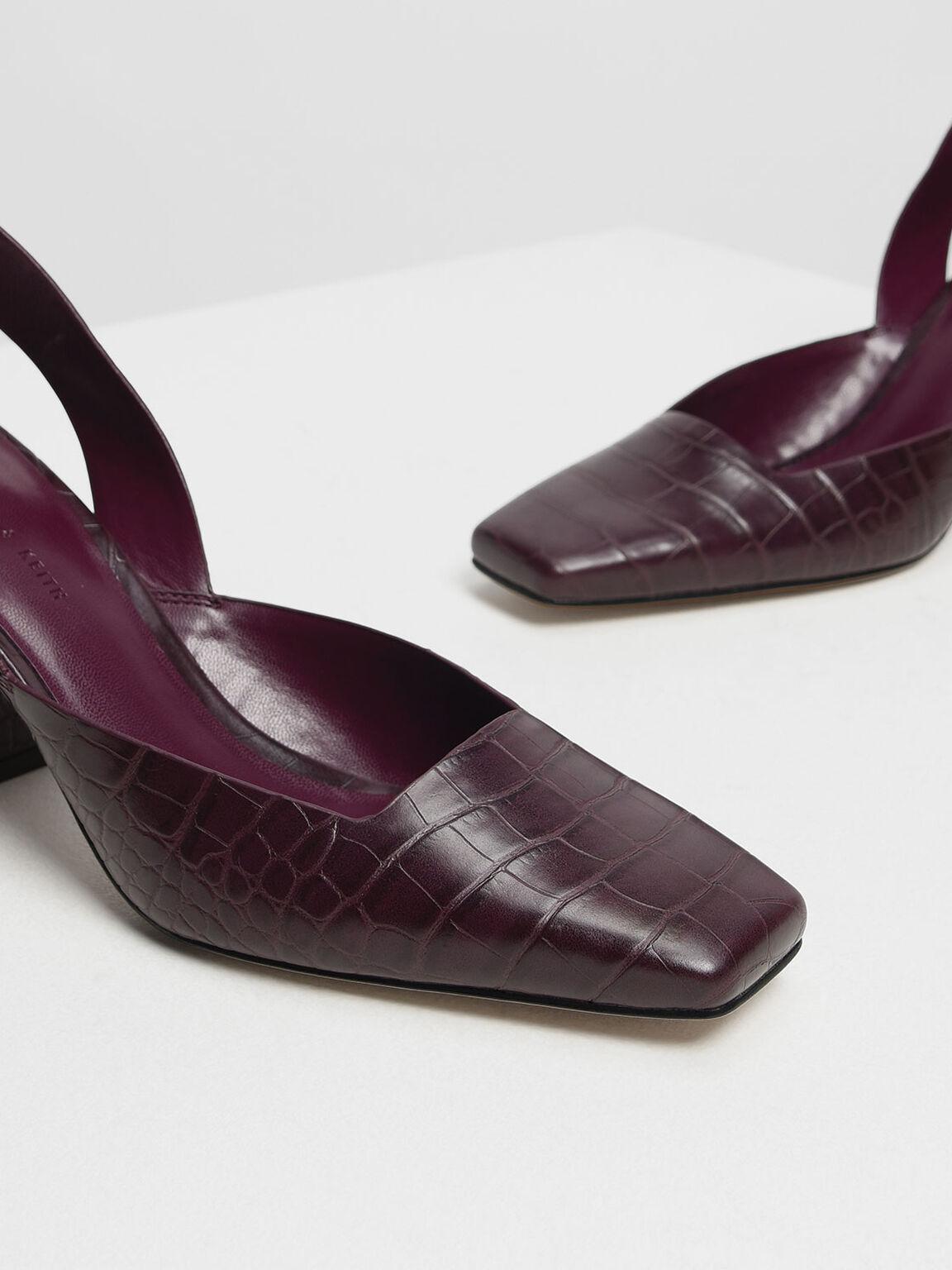 方頭粗跟鞋, 深紫紅, hi-res