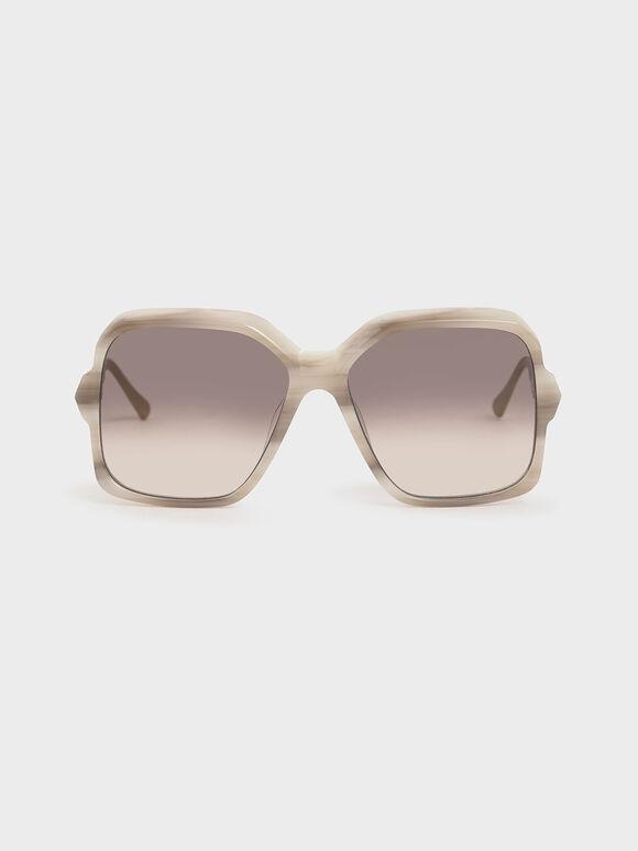 Oversized Square Sunglasses, Cream, hi-res