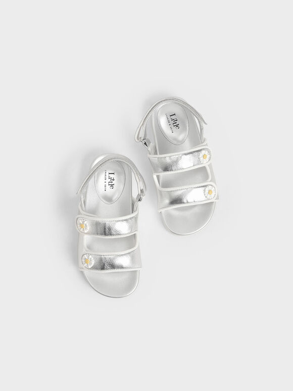 Girls' Metallic Flower-Embellished Platform Sandals, Silver, hi-res