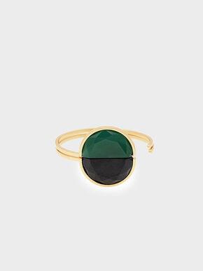 Black Marble Cuff Bracelet, Green