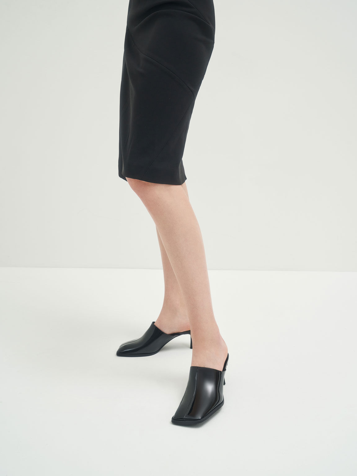 Patent Covered Mules, Black, hi-res