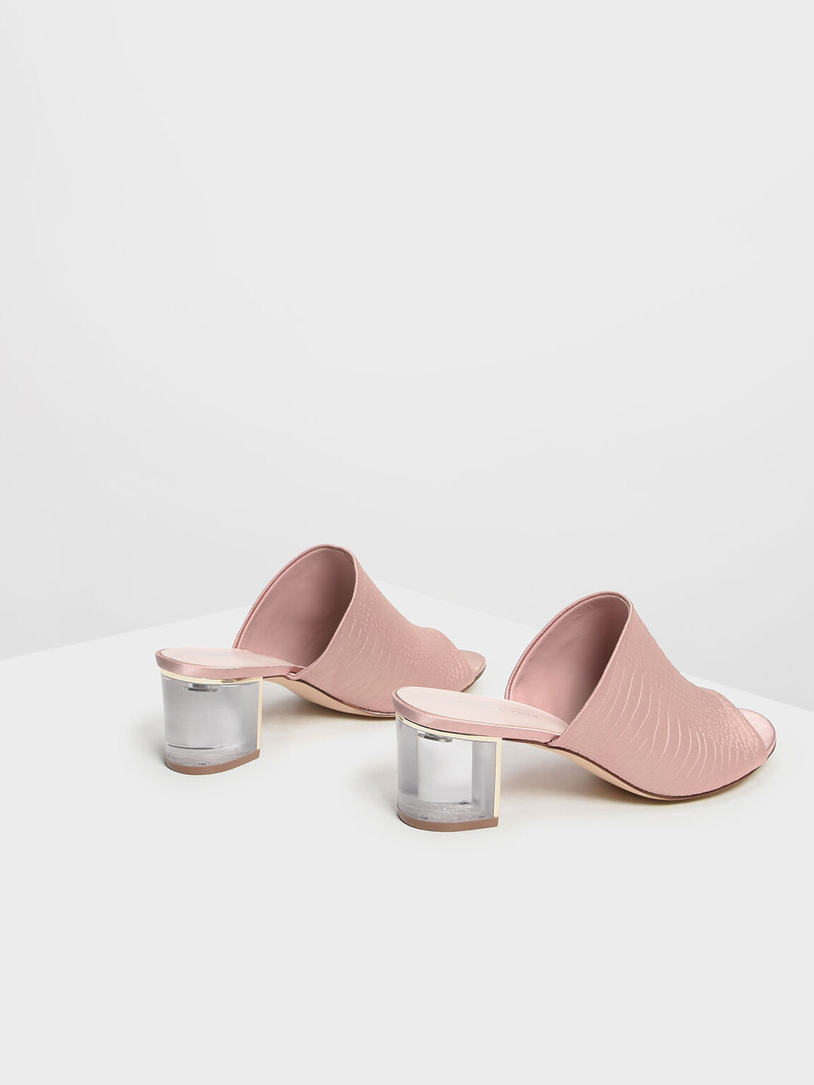 Embossed Fabric Heeled Slide Sandals, Nude, hi-res