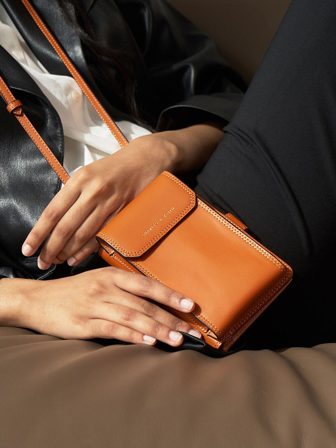 Elongated Pouch Wallet, Cognac, hi-res