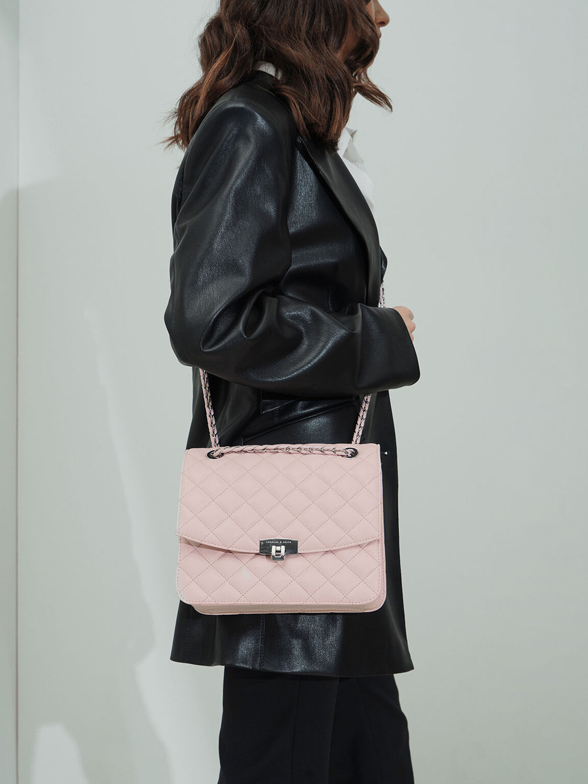 Quilted Push-Lock Clutch, Pink, hi-res