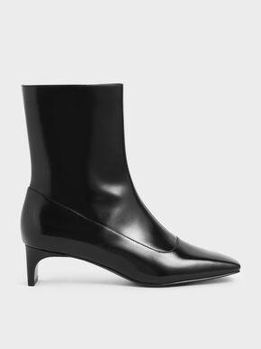 Blade Heel Calf Boots, Black