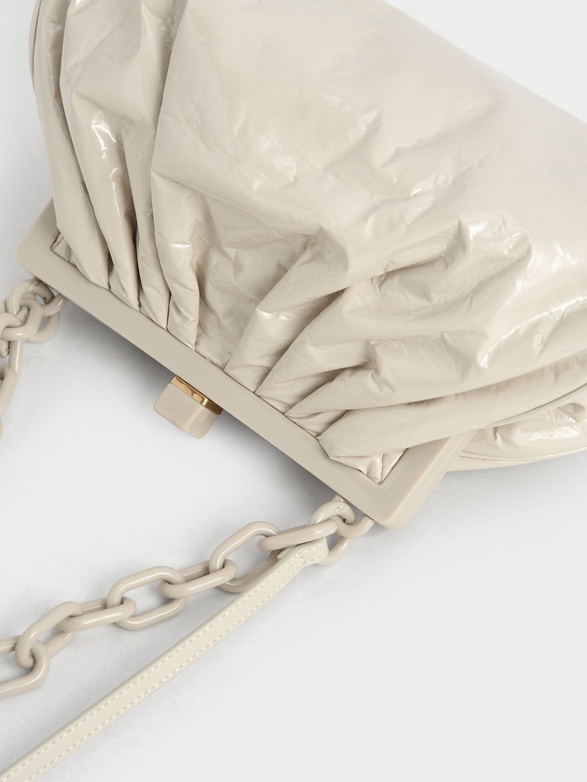 Patent Chain Handle Clutch, Beige, hi-res