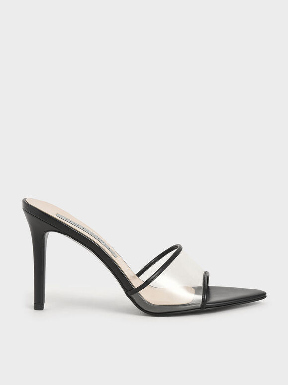 Clear Strap Mules, Black, hi-res