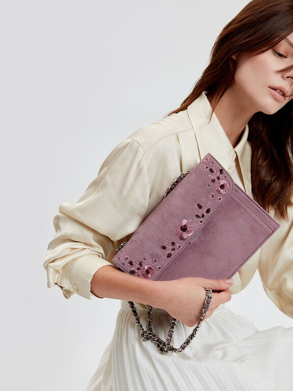 Embroidered Front Flap Bag, Purple