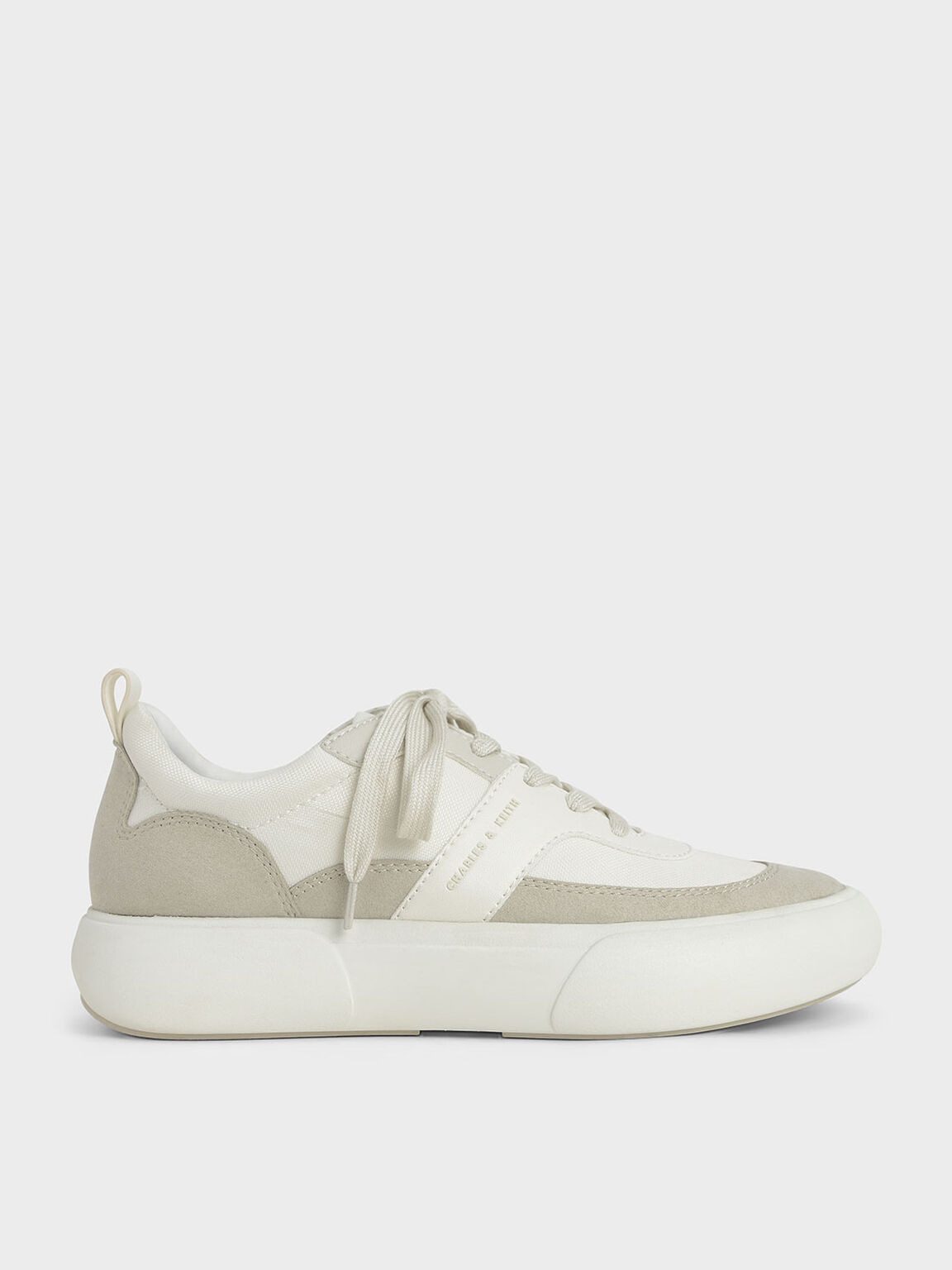 Textured Low Top Sneakers, Chalk, hi-res