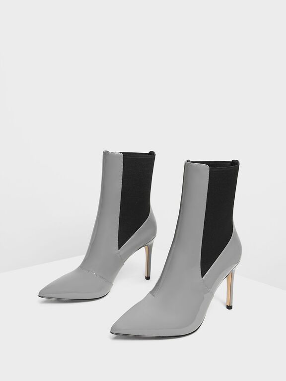 Pointed Toe Chelsea Boots, Grey, hi-res