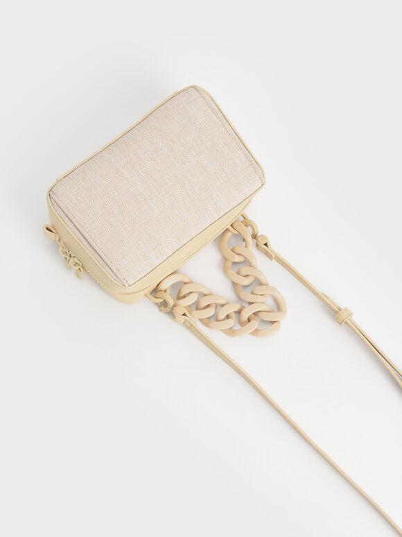 Linen Chain Link Boxy Bag, Beige, hi-res