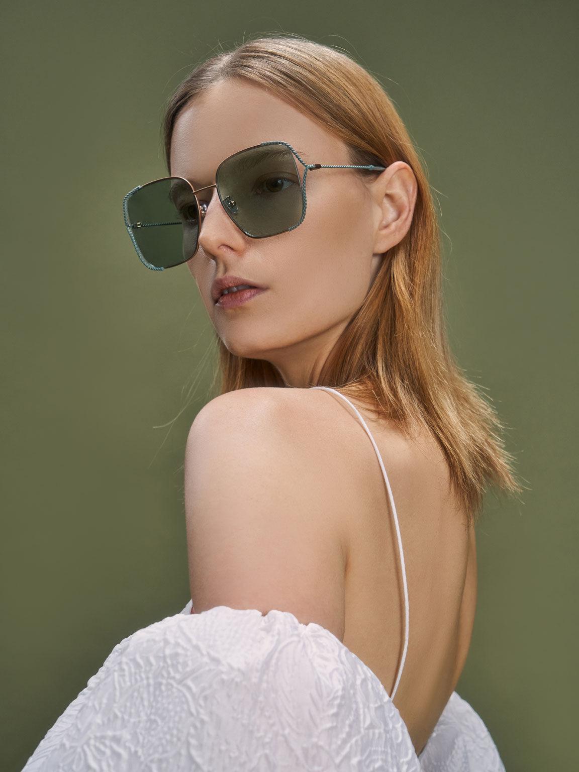 撞色方框墨鏡, 綠色, hi-res