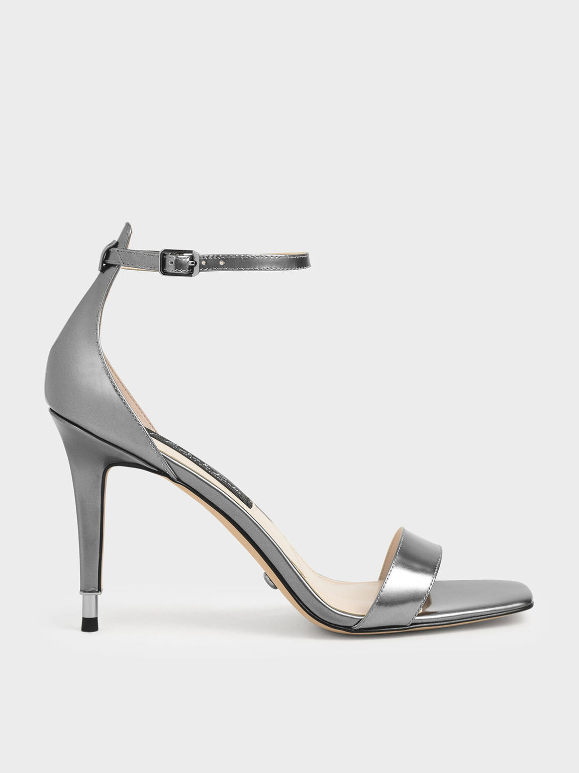 Metallic Leather Stiletto Heels, Silver, hi-res