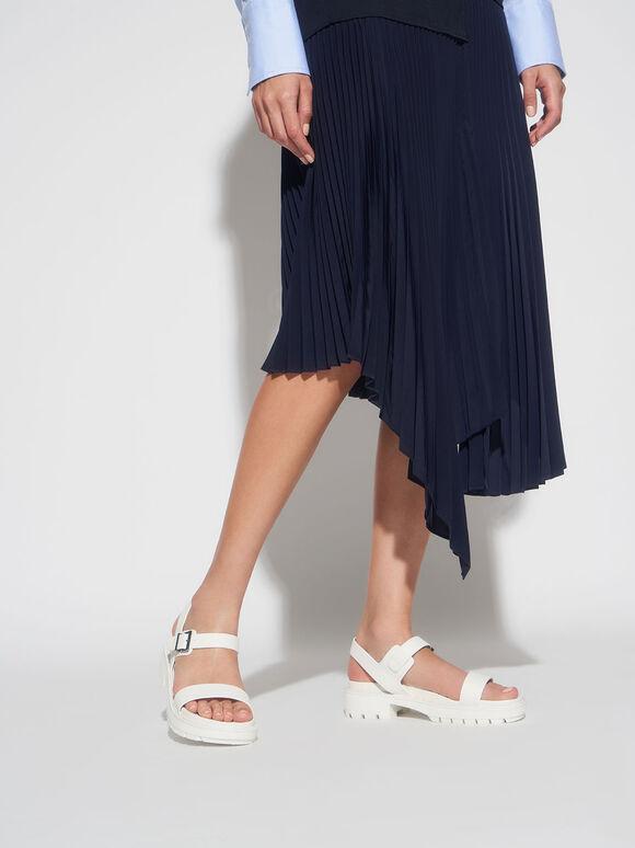 Ankle Strap Sandals, White, hi-res