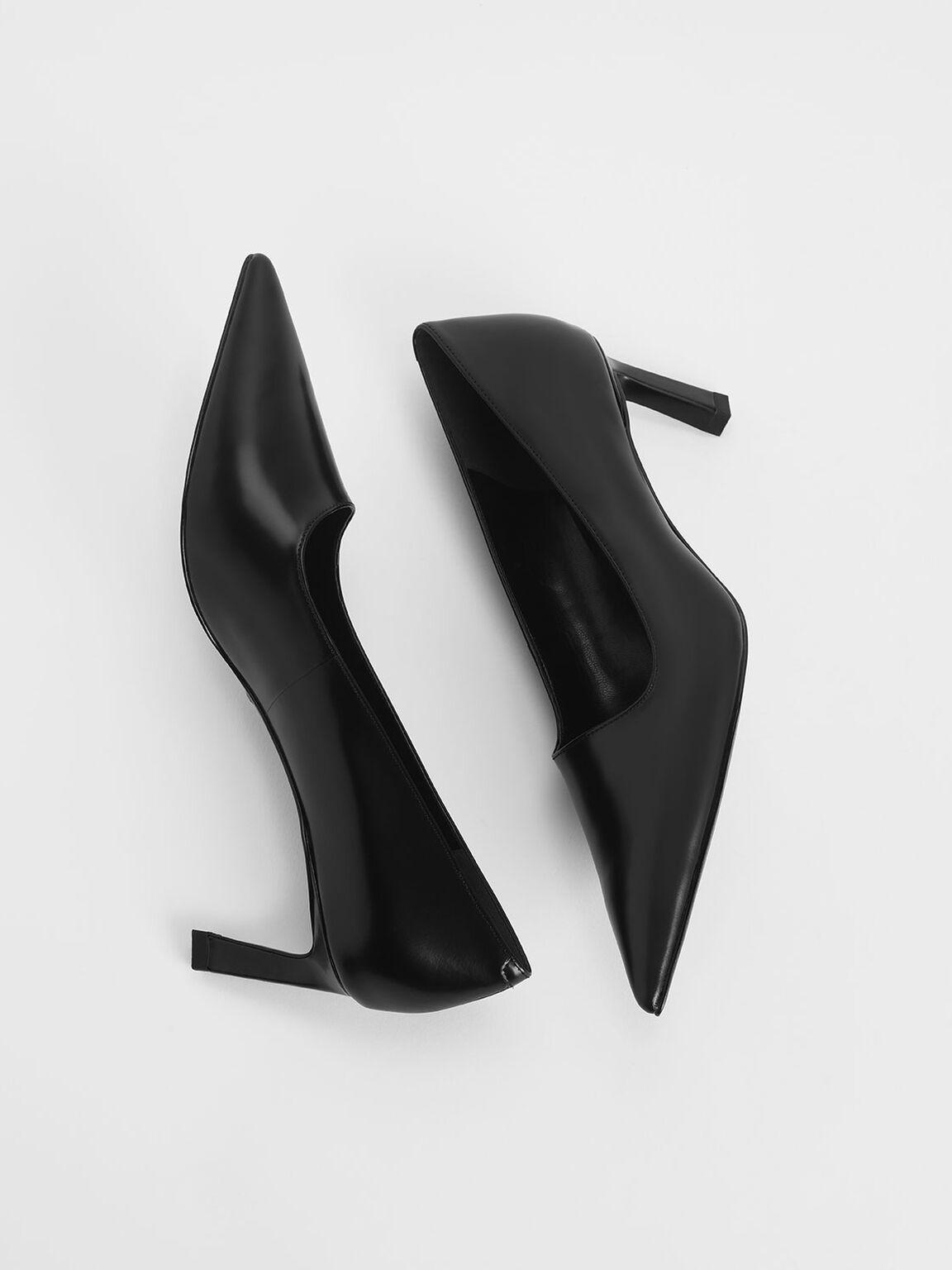 Asymmetric Leather Pumps, Black, hi-res