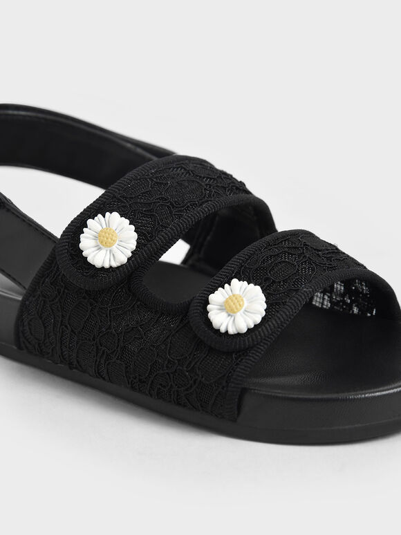 Girls' Lace Flower-Embellished Platform Sandals, Black, hi-res