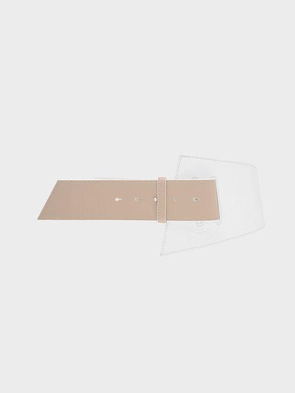 Two-Tone Croc-Effect Asymmetric Waist Belt, White, hi-res