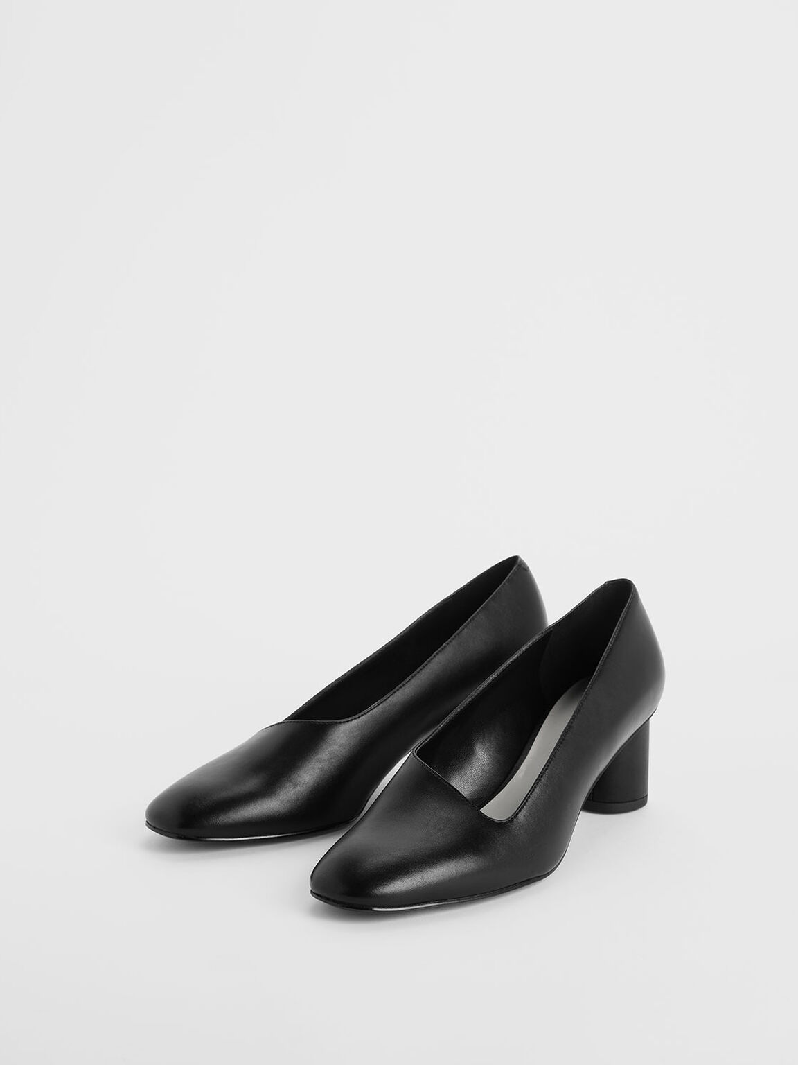 Asymmetric-Cut Cylindrical Heel Pumps, Black, hi-res
