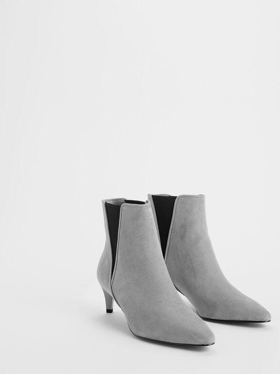 Kitten Heel Textured Chelsea Boots, Grey, hi-res
