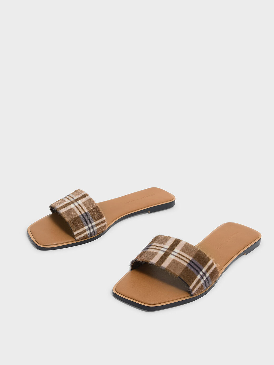 Check Print Square Toe Sliders, Brown, hi-res