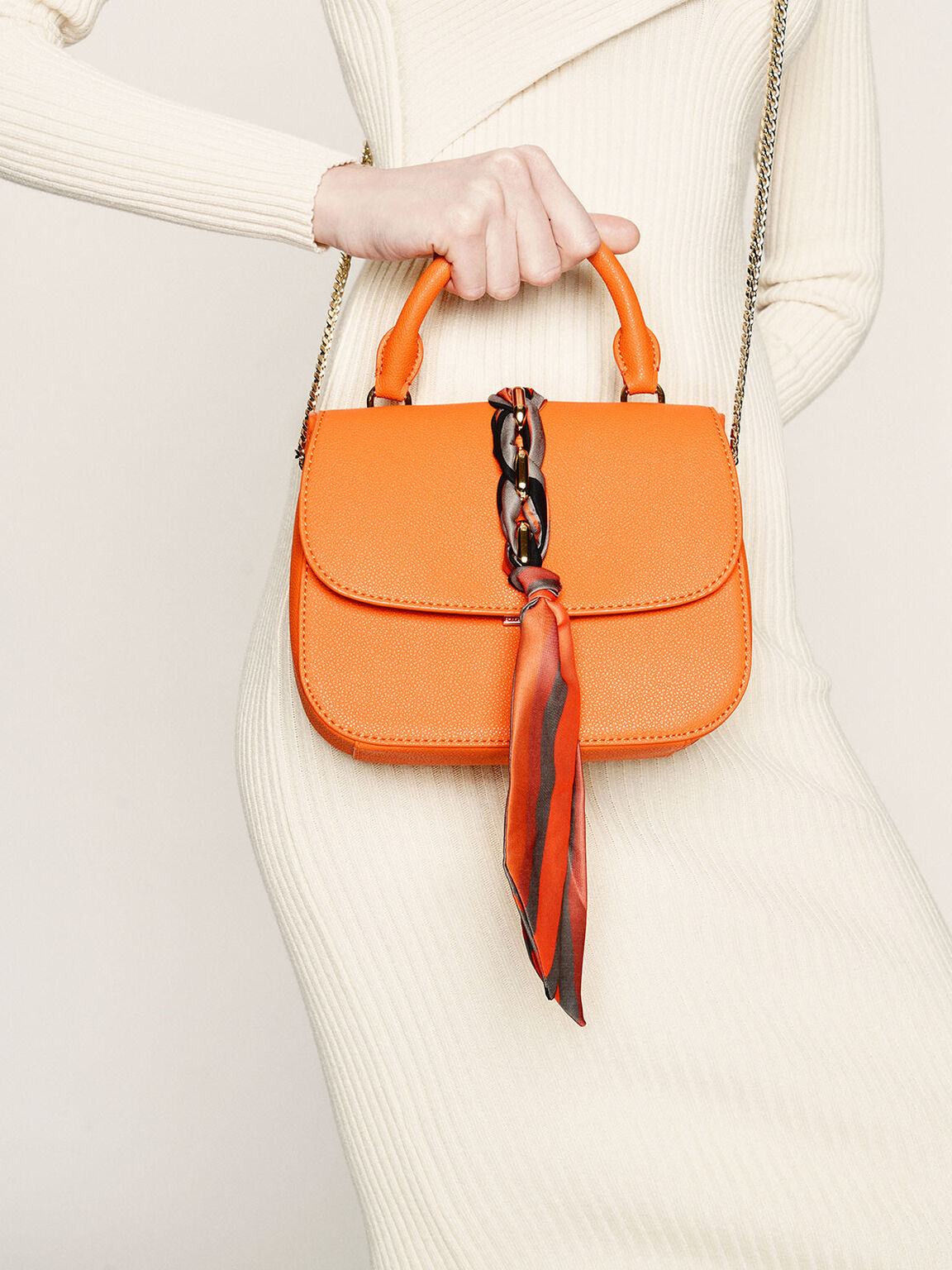 브레이디드 프론트 플랩 백, Orange, hi-res