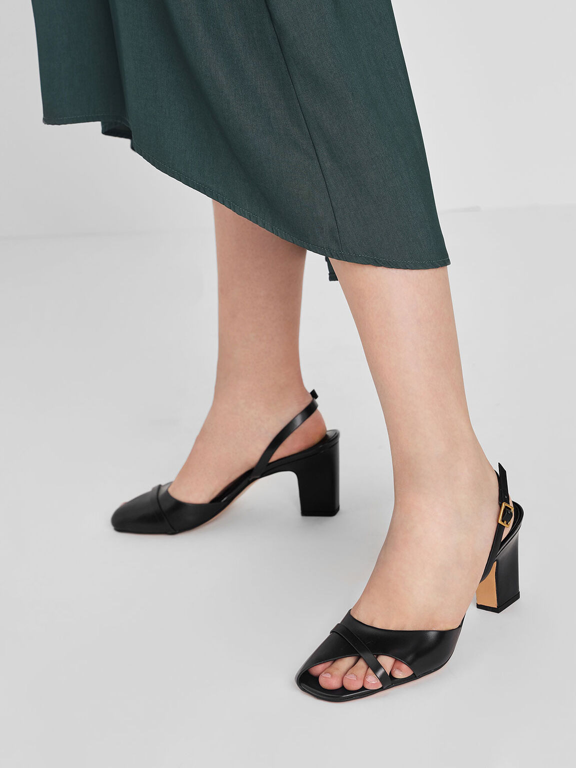 Asymmetrical Peep Toe Heels, Black, hi-res