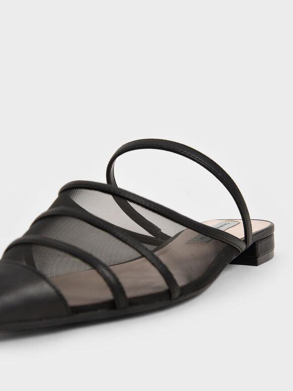 網紗瑪莉珍穆勒鞋, 黑色, hi-res