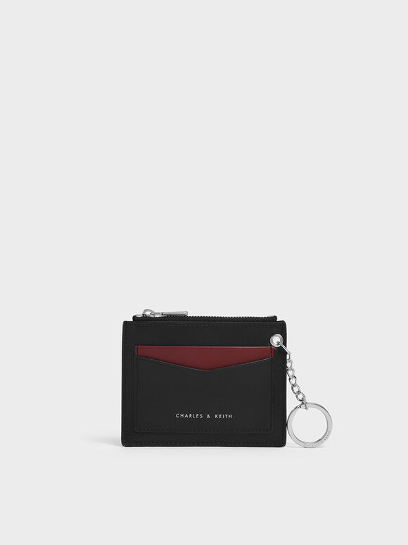 Two-Tone Zip Pocket Card Holder, Black, hi-res
