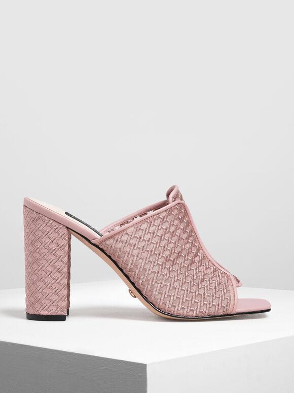 Mesh Block Heeled Slide Sandals, Pink, hi-res