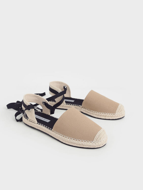 Tie-Around Espadrille Flats, Camel, hi-res