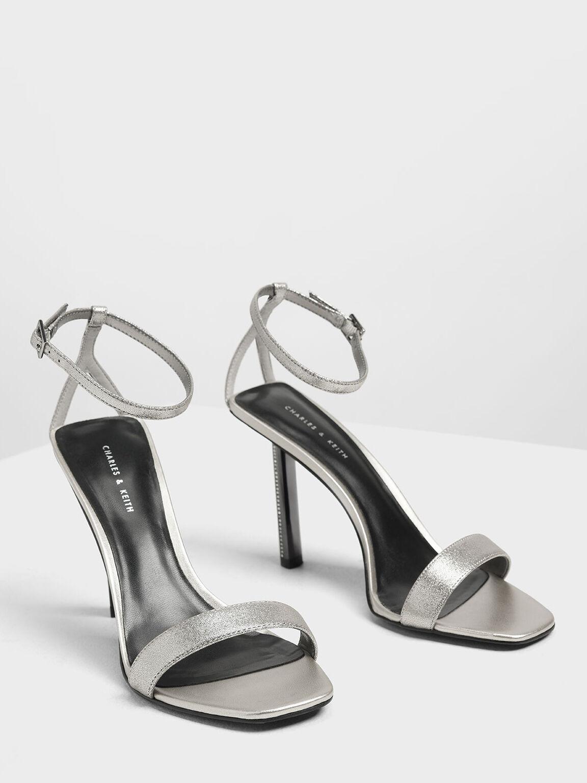 Gem Encrusted Blade Heel Metallic Sandals, Silver, hi-res