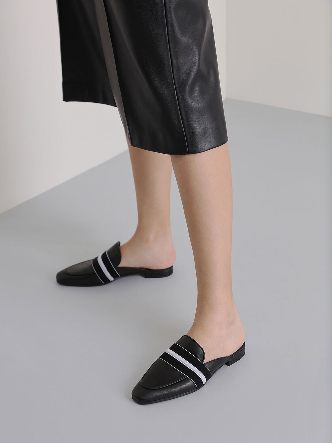 Two-Tone Leather Loafer Mules, Black, hi-res