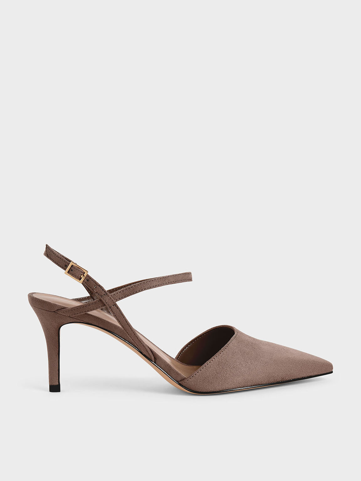Textured Ankle Strap Pumps, Taupe, hi-res