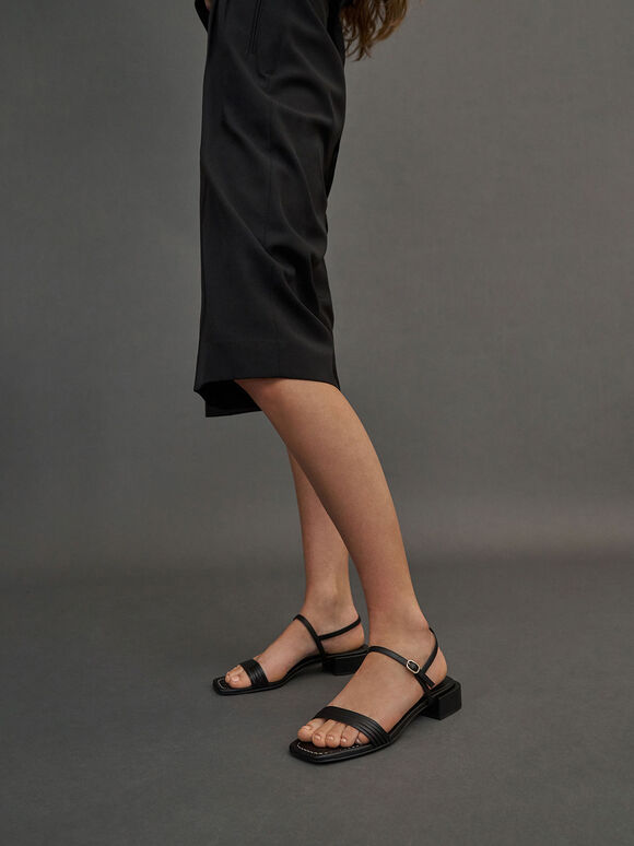 Open Square Toe Heeled Sandals, Black, hi-res