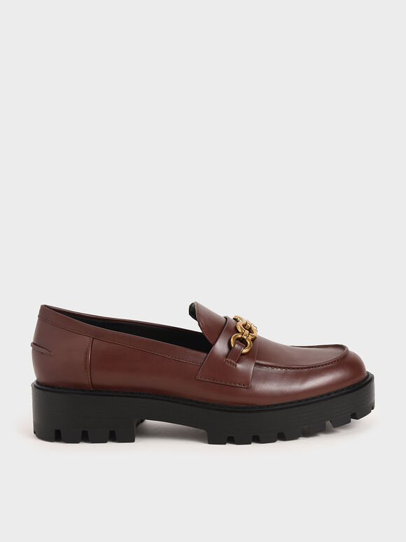 Metallic Accent Chunky Loafers, Brick, hi-res