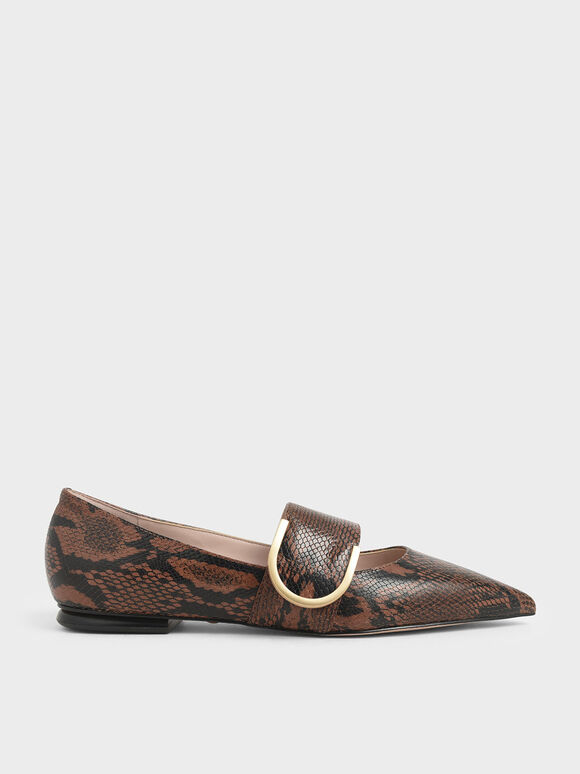 Snake Print Leather Mary Jane Flats, Multi, hi-res